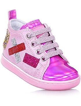FALCOTTO - Zapato de cordones rosa y fucsia de cuero, ideal para los primeros pasos y el gateo, Niña, Niñas