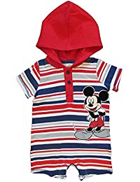 Disney Mickey Mouse Maus Baby Spieler Hoodie Body mit Kapuze Sommer Outfit Rot Weiß Blau gestreift