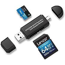 Philonext lector de tarjetas, lector de tarjetas SD/Micro SD y Micro USB OTG USB 2.0 adaptador con conector macho del macho Micro USB estándar USB para PC y Notebooks teléfonos inteligentes y tabletas con función OTG