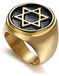 DABAIX - Anillo de Boda con Incrustaciones de Estrella judía de David, Color Dorado