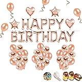 iZoeL Anniversaire Ballon Rose Kit Guirlande Happy Birthday Ballon, 15 Ballons Confettis Rose Or, 36 Latex Ballon Rose Or, 4 Ballons Chiffre étoile et Coeur (Rose Or FBA)