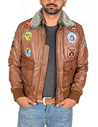Hombre Cuero Fuerza Aerea Piloto Top Gun Estilo Chaqueta de Vuelo del Bomber Hank Marrón Claro