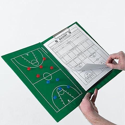 Entrenamiento de baloncesto carpeta Coach con texto en inglés de un jugador de Game Pad con marcadores para pelotas de
