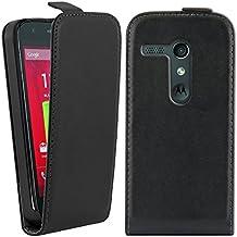 kwmobile Funda de cuero sintético Flip Style para Motorola Moto G (2013) con un práctico cierre magnético en negro