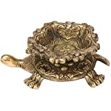 Kartique Brass Diya Tortoise with Swastik Antique Style Vastu Kachua Designer Deepak Deepam Homedecor Decorative Showpiece Gold Length 6 Inches
