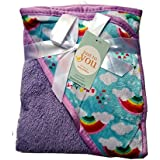N&M Double Layer Velvet Fleece Newborn Printed Baby Blanket With Hood (Purple Rainbow)