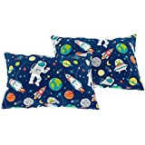 Bloomsbury Mill - Outer Space, Rocket & Planet - Kids Design - Blue - Pair of Pillowcases (Extra)