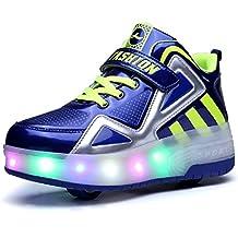 Unisex Niñas Niño LED Zapatillas con Ruedas Single Doble Ronda Neutra Automática de Skate de Patìn