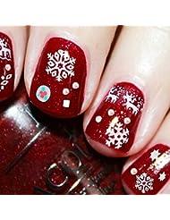 Gowind6 Weihnachts-Aufkleber, Weihnachtsmann-Rentier-Motiv, Schneeflocken, gemischte Schneeflocken
