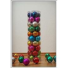 Christbaumkugeln 40er Set - in 10 Farben gemischt - Durchmesser 6 cm