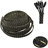 """PET Expandable Braided Sleeve Blackyellow Cable Management Sheath For Home Office Wire Organizer 25ft-1/2"""""""
