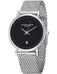 Stuhrling Original Classic Ascot Casatorra Elite Men's Quartz Watch with Black Dial Analogue Display and Silver Stainless Steel Bracelet 734GM.02