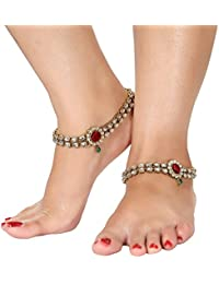 Gold Plated Kundan Studded Anklets Payal For Girls & Women By Dipali - B07B8JT21W