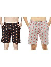 Clifton Men's Star Printed Shorts Pack Of 2-Black/Deep Orange-Grey Melange/Deep Orange