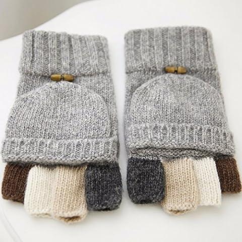 KHSKX Guanti in pile imbottito caldo metà un paio di guanti per uomini e donne ha colpito il colore flip in maglia di lana caldi guanti,grigio chiaro (maschio)