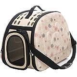 Al Aire Libre Respirable Plegable Bolsa para Mascotas para Perro Gato Cómodo Viaje Talla Mediana Portador de Mascotas (beige)