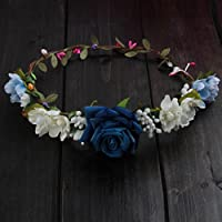 niumanery Women Wedding Flower Hair Garland Crown Headband Floral Rose Handmade Vacation Blue