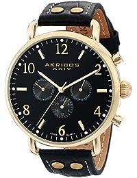 Akribos XXIV Hombre Ultimate Analog Display reloj negro de cuarzo suizo