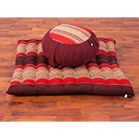 Leewadee Zafu Zabuton - Juego de cojn y alfombra de meditacin (40 x 20 cm y 76 x 72 cm), color rojo