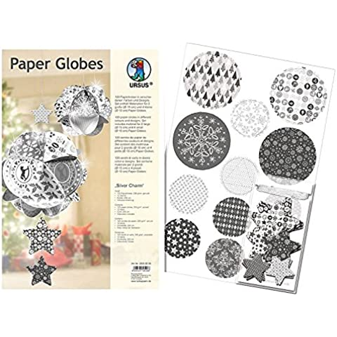 Ursus 23090099 - Set di dischi e stelline di carta per creare palline da appendere, motivo: Silver Charm