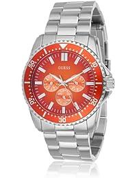 Guess Herren Uhr mit Edelstahl-Armband für Focus, Orange/Silber
