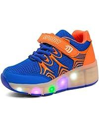 Sollomensi LED Luz Niños Zapatos con Ruedas Zapatillas de Skate Automática de párrafos Sola Ronda Para niñas