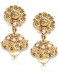 Spargz Floral Gold Plating AD Stone With Pearls Jhumki Earrings For Girls & Women AIER 667