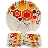 Smart Dinning 100% Melamine Dinner Set Of 12 Pieces Plates And Bowls, Block Print