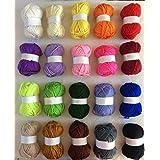 Lot de 20pelotes de fils à tricoter 100% acrylique pour tricot double 25g Couleurs assorties