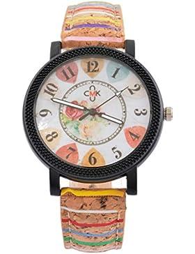 Souarts Damen Armbanduhr Bunt Band Deko Quarz Uhr mit Batterie Charm Geschenk