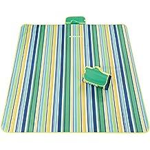 Manta de Pícnic Cara inferior impermeable y antihumedad 100% Polyester para jardín camping playa 200 x 145 cm (verde)