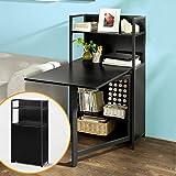 SoBuy® Mesa multimedia con puertas con varios estantes y compartimentos, mesa de ordenador, mesa plegable, mesa de cocina, mesa de comedor, FWT12-SCH, ES