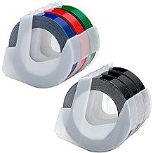 Etiquetas autoadhesivas de estampado de plástico 3D Compatible con Dymo S0717900 S0717910 S0717930 S0717940 S0720010 Rotuladores, Blanco sobre negro / azul / rojo / verde, 3/8 ancho x 9.8 'de largo, 6 rollos de Itari
