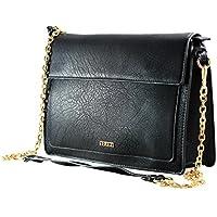 FERETI borse a tracolla donna in eco pelle Nero catena oro tracolla removibile