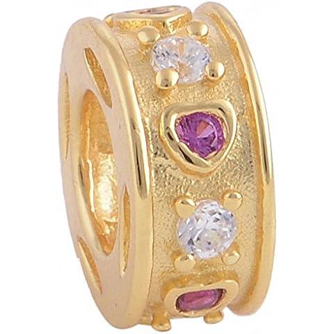 TAOTAOHAS 22k placcato oro sterling 925 argento charms beads perline [ cuore spettacolo, Fuchsia ] (22k Oro Cuore)