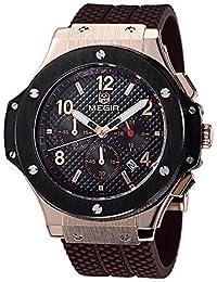 De los hombres de 24 Hr MEGIR Relojes de los deportes de los indicadores de los relojes militares 3ATM resistente al agua de las mujeres de los hombres de acero inoxidable de oro MN3002ZM1H