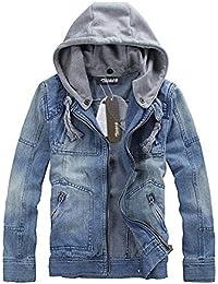 Zicac-veste en jean fermeture zippé avec capuche pour homme