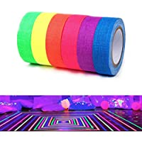 Zattcas Spike Tape Fluorescent Adhesive Tapes Gaffer Tape UV Blacklight Reactive Neon Tapes for Parties Art Craft Decorations, Fluorescent Cloth Tapes6Colors (6Rolls)