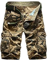 WSLCN Homme Rétro Baggy Cargo Camo Shorts Outdoor Casual Combat Shorts Coton Pantacourt