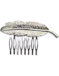 Elite Models (France) Prestige Series Side And Back Comb, Back Hairpin, Hair Ornament Pin For Women ( Silver ) | Latest Designs Imported Party Wear Girls Accessories, Designer Decoration Clips, New Style Grips, Jewelry Pins To Tie Up Long or Short Hairs