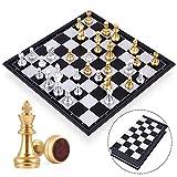 Peradix Schaken Opvouwbaar -Schaakspel Magnetisch Inklapbaar Schaakbord schaak voor Kinderen en Volwassenen - Magnetisch-goud en zilver-25 CM