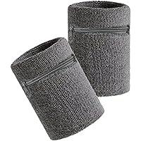 Hoter, polsiera sportiva colorata, spessa e resistente, dotata di tasca con zip, per utilizzarla come portafogli da polso, Grey(2Piece)