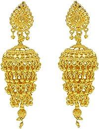 Memoir Gold Plated Four Tier, Ethnic Stylish Long Bridal Wedding Partywear Jhumki Earrings For Women