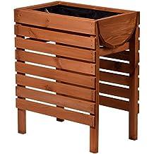 dobar - Bancal de madera decorativo (pino, marrón) para jardín: mesa bancal para hortalizas, hierbas, flores, bancal maceta bancal para terraza, balcón