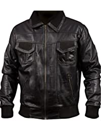 F&H Men's American Bomber Synthetic Leather Jacket