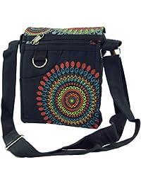 Guru-Shop Kleine Schultertasche, Hippie Tasche, Goa Tasche - Schwarz, Herren/Damen, Baumwolle, 18x16x4 cm, Alternative Umhängetasche, Handtasche aus Stoff