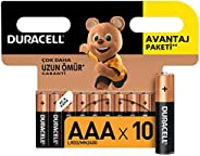 Duracell Alkalin AAA İnce Kalem Piller, 10'lu p