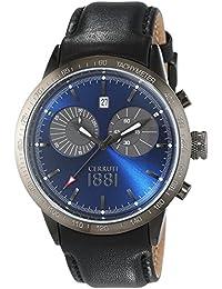 CERRUTI UDINE CRA096F222G - Reloj para hombres, correa de cuero color negro