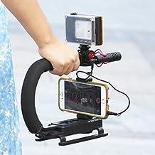 U-Grip + Clip telefono + 96 LED Light + Boya Set per microfono BY-MM1, triple 3 Supporti per scarpe Video Azione Stabilizzatore per maniglia Grip Rig per iPhone 7 Plus Canon Nikon Sony DSLR Fotocamera / Videocamera