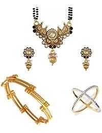 Zeneme AKSHAYA TRITIYA Speical Collection Of Designer American Diamond Mangalsutra Set And Gold Plated Bangles...